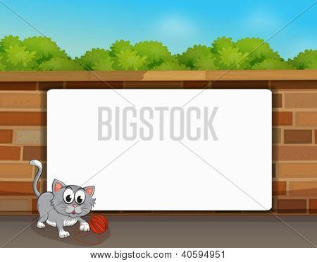 Illustration of a cat and a white board in front of a wall