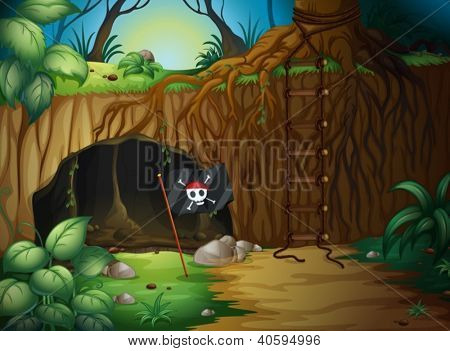 Illustration of a cave and a pirate flag in a jungle