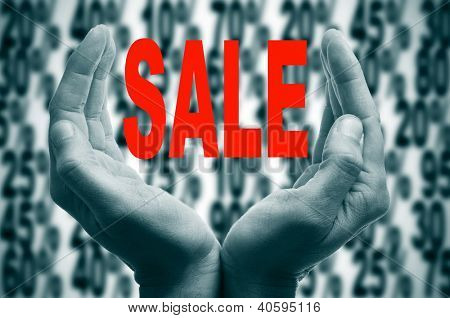man hands forming a cup and the word sale written in red in it on a background with different discount percentages