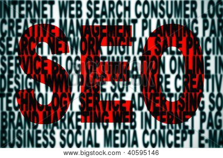 word SEO written in red and a pile of words about internet concept
