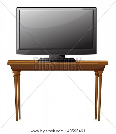 illustration of a television on a table on a white background