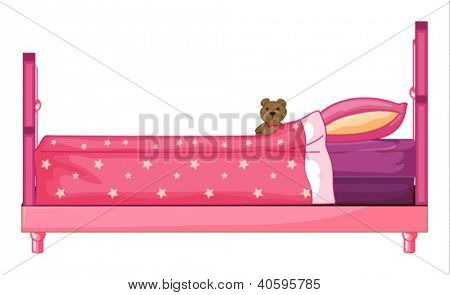 Beispiel für ein rosa Bett auf weißem Hintergrund