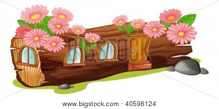 Illustration of a wood house on a white background