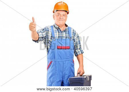 A manual worker holding tool box and giving a thumb up isolated on white background