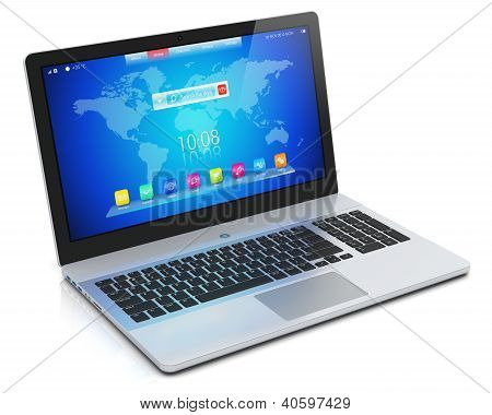 Moderno laptop com interface azul