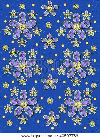 Fabric Flowers On Blue Specks