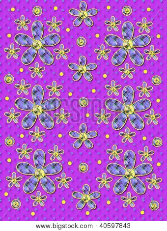 Fabric Flowers Purple Patterned Dots