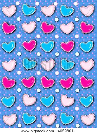 Heart And Pearls Blue With Hot Pink Dots