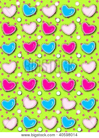 Heart And Pearls Green With Pink Dots