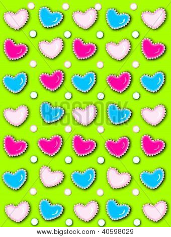 Heart And Pearls Lime Green