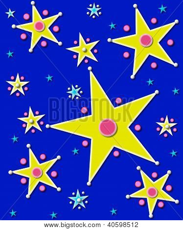 Stars And Planets On Dark Blue