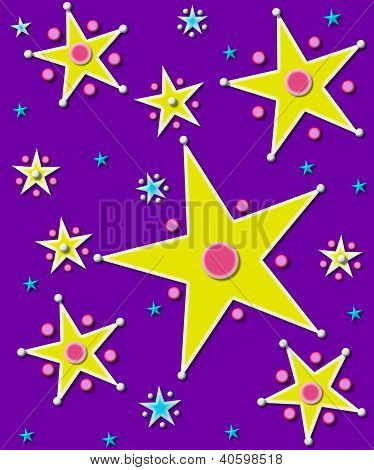 Stars And Planets On Purple