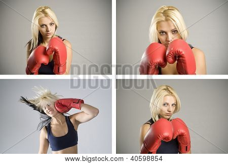 Collage Combination Of Woman Boxer With Red Gloves