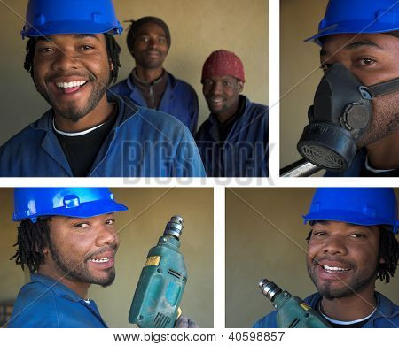 Collage Combination Of Smiling Construction Workers