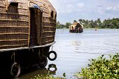 image of alleppey  - one backwater arriving at pier in Allepy - JPG