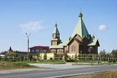 stock photo of murmansk  - The Holy Trinity temple in the city of Polyarnye Zori - JPG