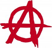 stock photo of anarchists  - Vector illustration of a spray paint style anarchy symbol - JPG