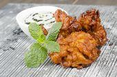stock photo of raita  - Onion Bhajis  - JPG