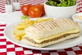 stock photo of yellowfin tuna  - Tuna Melt - Cheese and tuna toasted panini served with salad and chips on a red and white gingham background.
