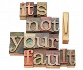 it is not your fault - isolated words in vintage letterpress wood type printing blocks