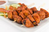 stock photo of raita  - Chicken Tikka Kebab  - JPG