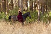 picture of bareback  - woman in medieval dress riding bareback through forest - JPG