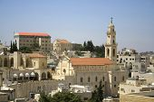 stock photo of crucifiction  - church tower Bethlehem west bank Palestine Israel - JPG