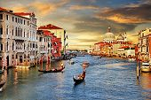 stock photo of gondolier  - Venetian sunset - JPG