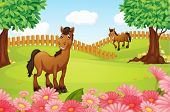 picture of wooden horse  - Illustration of horses on a field in a beautiful nature - JPG