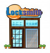 image of locksmith  - Illustration of a locksmith shop on a white background - JPG
