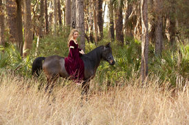 image of bareback  - woman in medieval dress riding bareback through forest - JPG