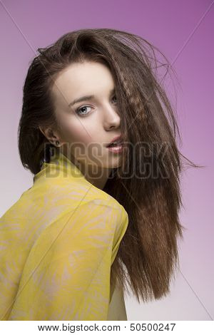 Sensual Woman With Dishevelled Hair-style
