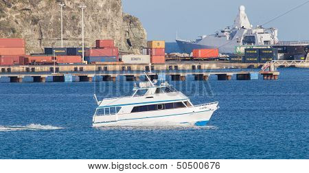St Martin - Antilles, July 24 2013; Small Boat In The Harbor Of Saint Martin. The Harbour Is One Of