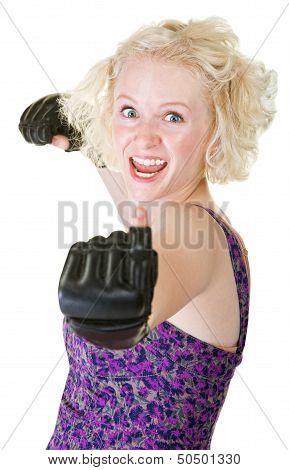 Enthusiastic Female Boxer