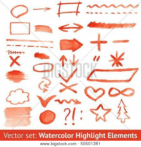 Set of red watercolor highlight elements. Vector