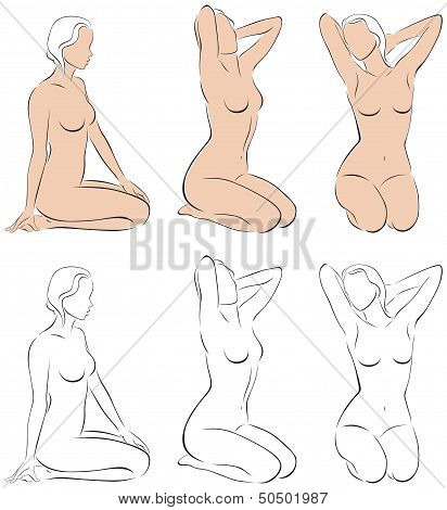 Stylized Figures Of Nude Womens
