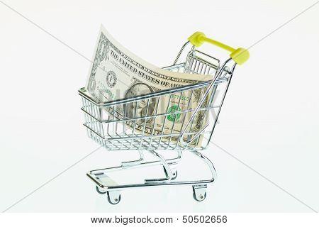 Us One Dollar Bill In Shopping Cart