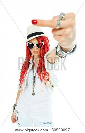 Expressive girl rock singer with great red dreadlocks. Isolated over white.