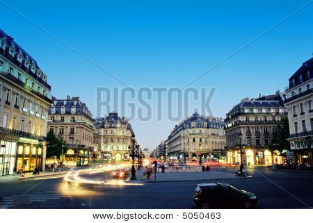 Center Of Paris In Night