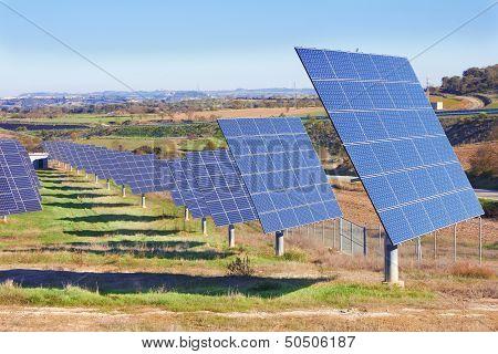 Solar Panels on a green field