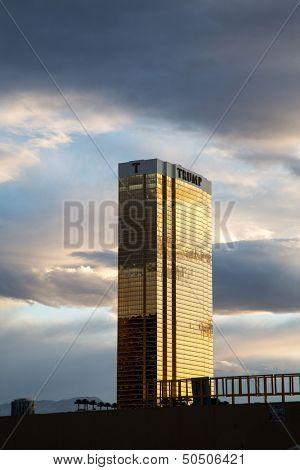 Las Vegas - April 17: The Trump hotel Las Vegas, at dusk. This 64 story hotel-condominium has exterior windows coated in 24 carat gold. On April 17 2013 in Las Vegas USA