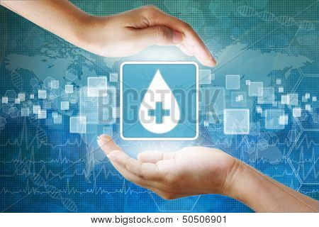 Medical Icon, Donate Blood Blood Drop Symbol In Hand
