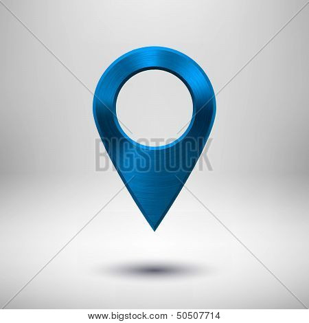 Technology Pointer Button with Blue Metal Texture