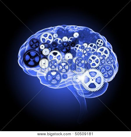 Human brain silhouette with gears and cog wheel elements against black background