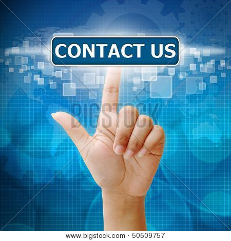 Hand Press On Contact Us Button