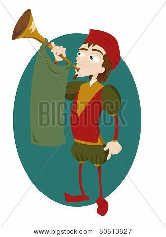 Funny Herald With Trumpet