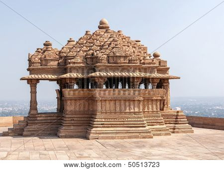 Sas-bahu, The Smaller Of Two Medieval Hindu Temples On Rock In India's Gwalior.