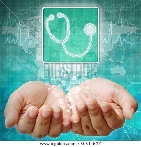 Stethoscope Symbol On Hand ,medical Background