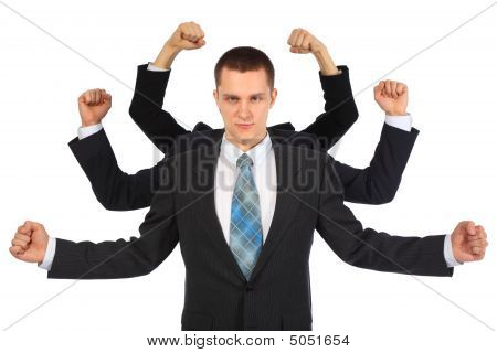 Young Businessman With Six Fists