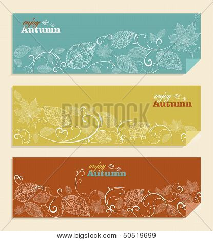 Vintage Enjoy Autumn Text And Leaves Background Eps10 File.